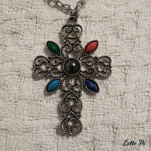 Avon Hematite Filigree Vintage Cross Necklace